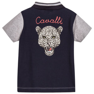 Boys Grey and Navy Piqué Jaguar-Back Polo Shirt