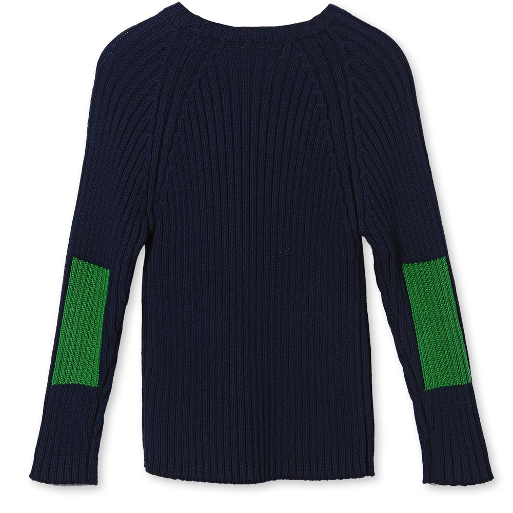 Stella McCartney Boys Navy Blue and Green Fitted Sweater Boys Sweaters & Sweatshirts Stella McCartney Kids [Petit_New_York]