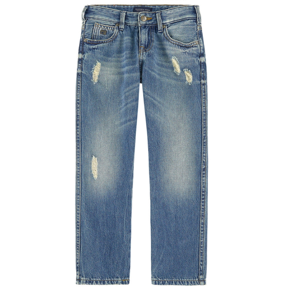 Scotch & Soda Boys Regular Fit Ripped Jeans