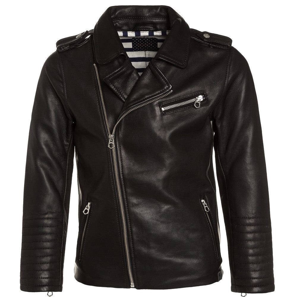 Scotch & Soda Boys Black Leather Biker Jacket