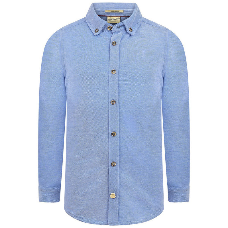 Scotch & Soda Boys Light Blue Jersey Button Down