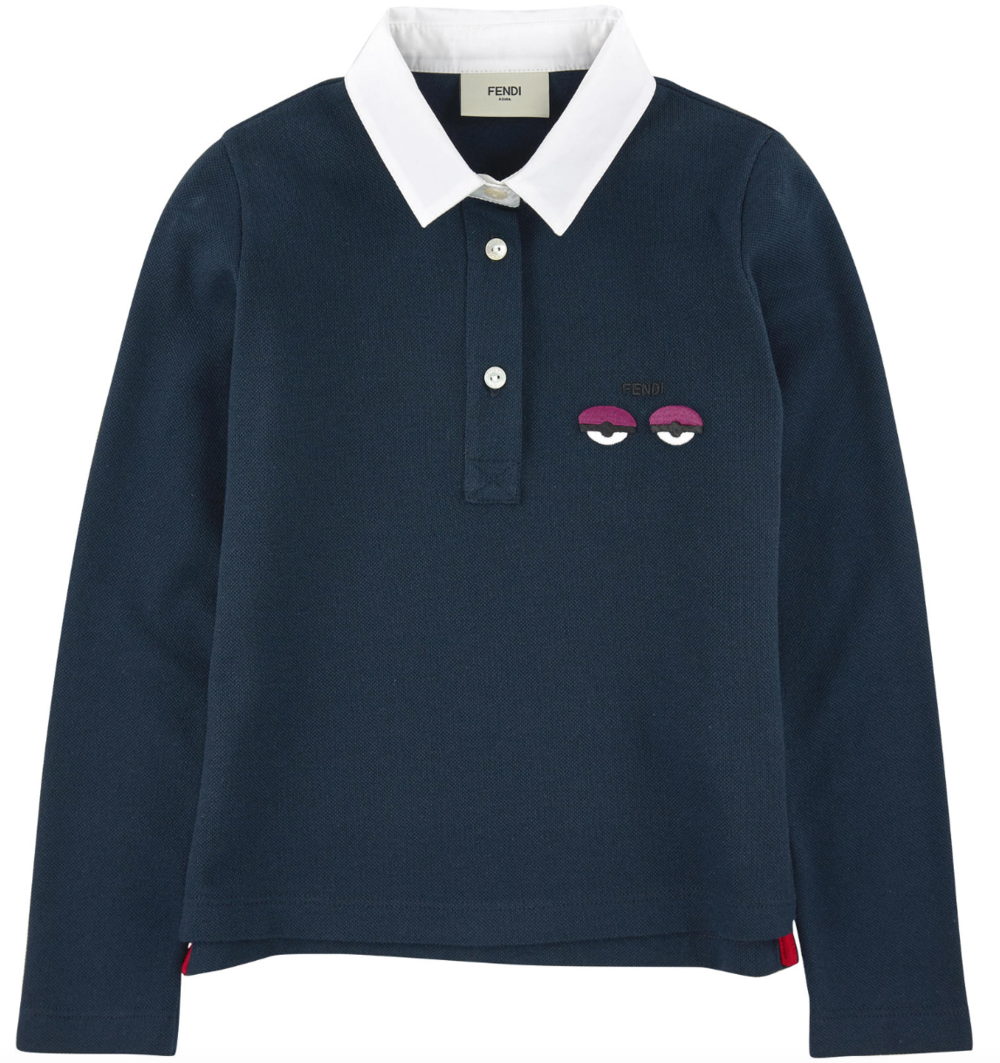 Fendi Girls Navy 'Monster' Poloshirt Girls Tops Fendi [Petit_New_York]