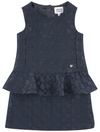 Armani Girls Navy Peplum Dress Girls Dresses Armani Junior [Petit_New_York]
