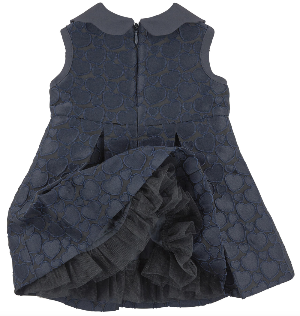 Armani Baby Girls Jacquard Navy Dress Baby Dresses Armani Junior [Petit_New_York]