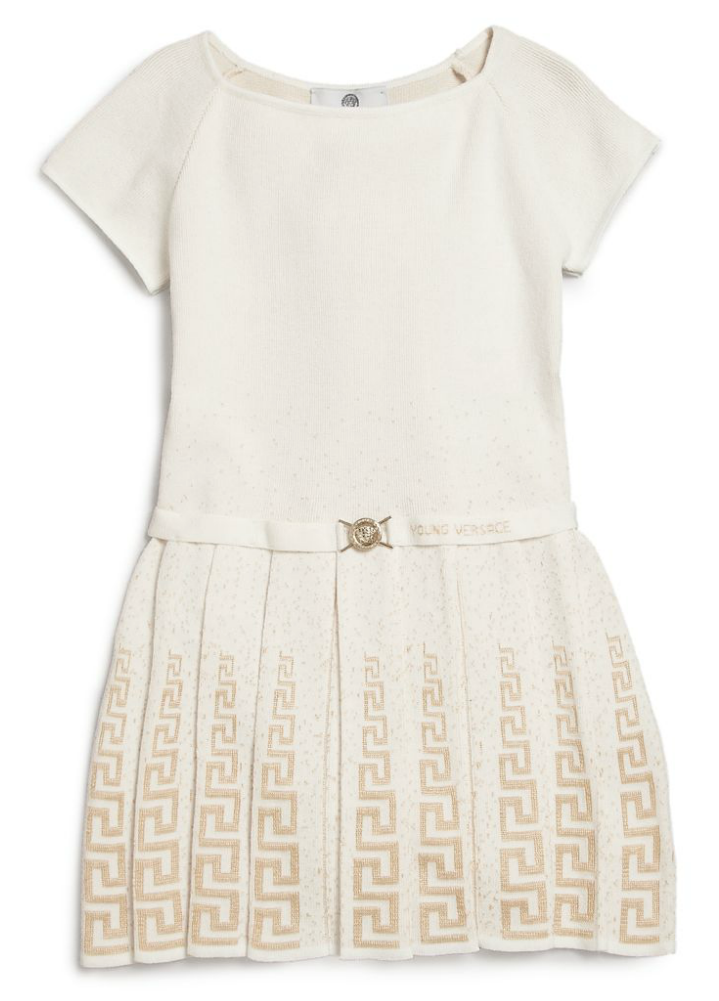 Versace Girls Ivory Knit Dress Girls Dresses Young Versace [Petit_New_York]