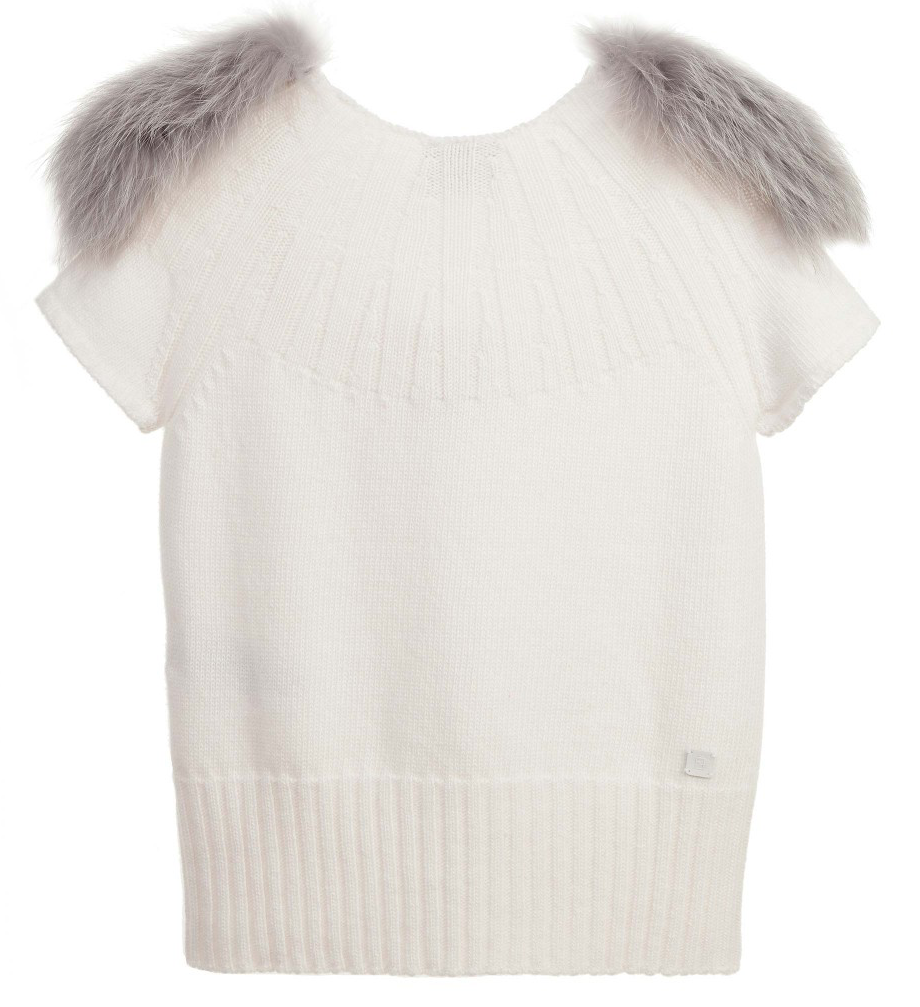 Fendi Girls Ivory Top with Fur Girls Tops Fendi [Petit_New_York]