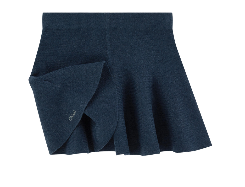 Chloe Girls Navy Short Wool Skirt Girls Skirts Chloé [Petit_New_York]
