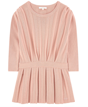 Chloe Girls Pleated Salmon-Pink Dress (Mini-Me) Girls Dresses Chloé [Petit_New_York]