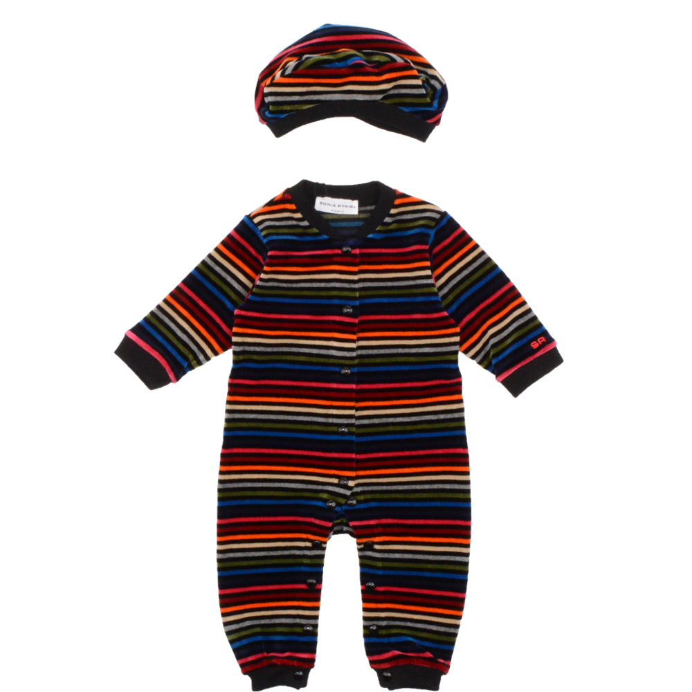 Baby Colorful Striped Velvet Romper & Hat (Unisex)