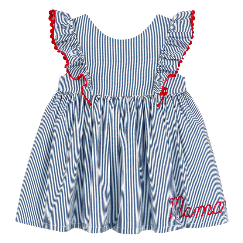 Baby Girls Blue Striped Dress with Bloomers