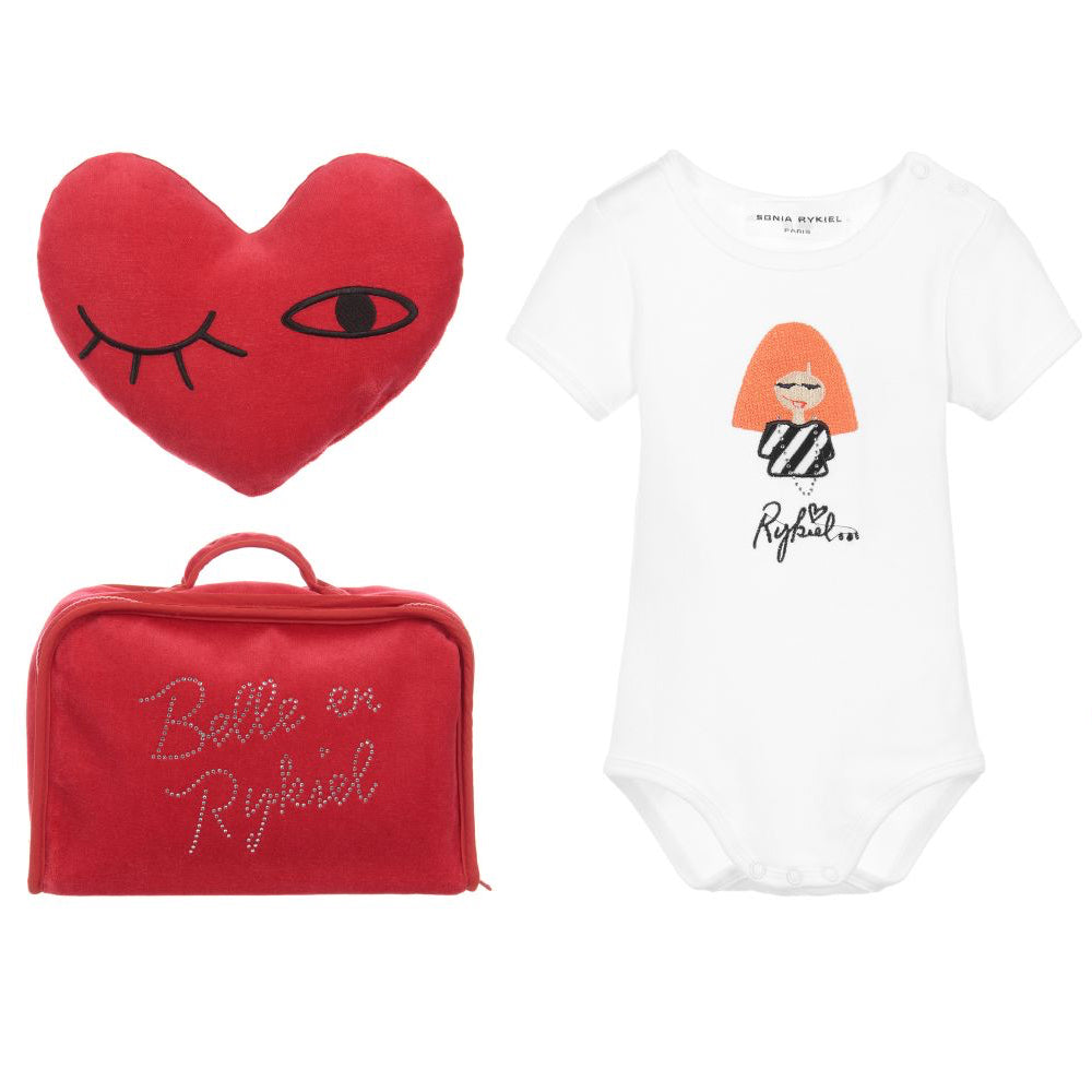 Baby White Romper & Red Heart Gift Set