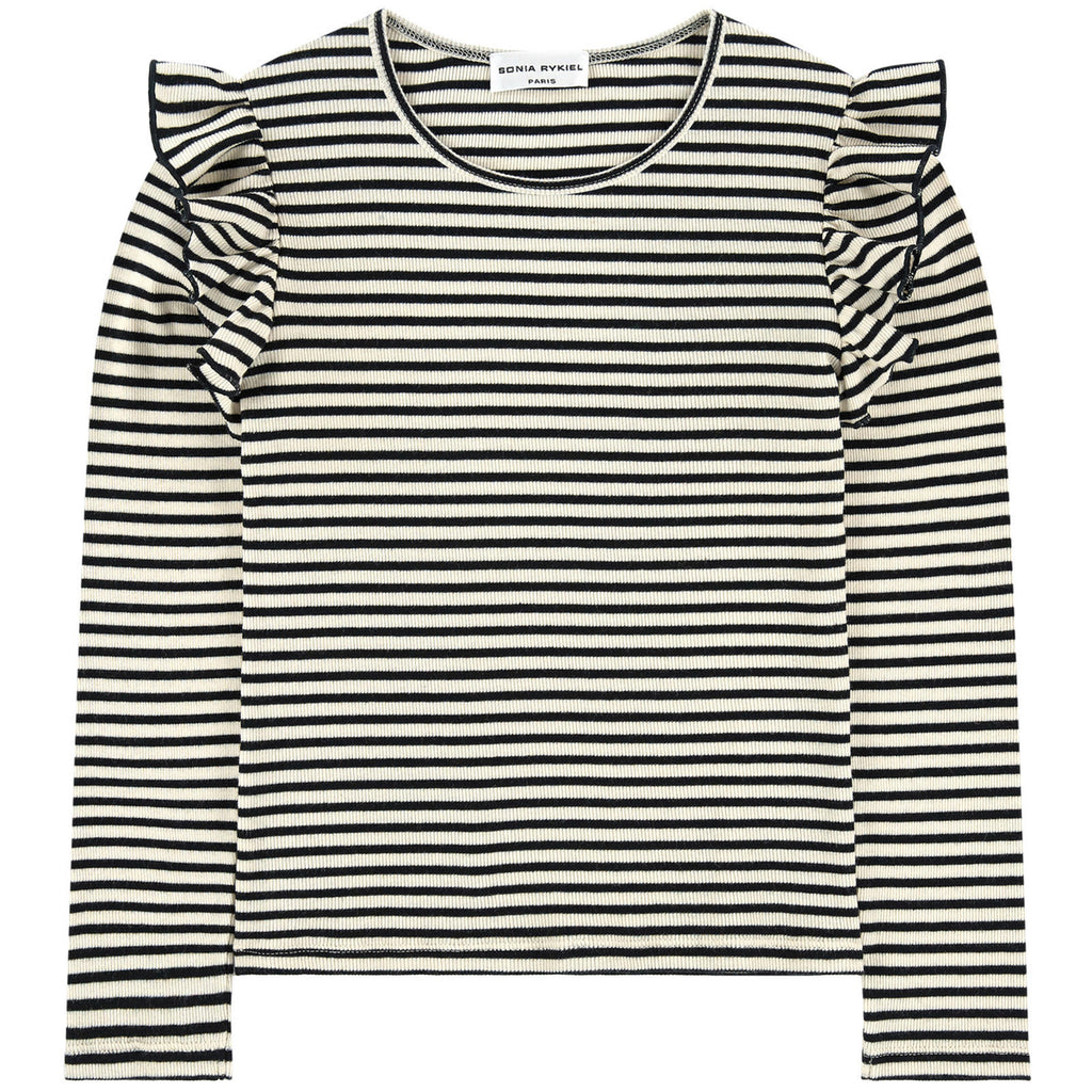 Girls Black and White Striped Top