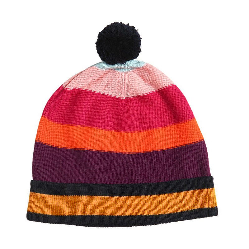 Girls Colorful Striped Beanie Hat
