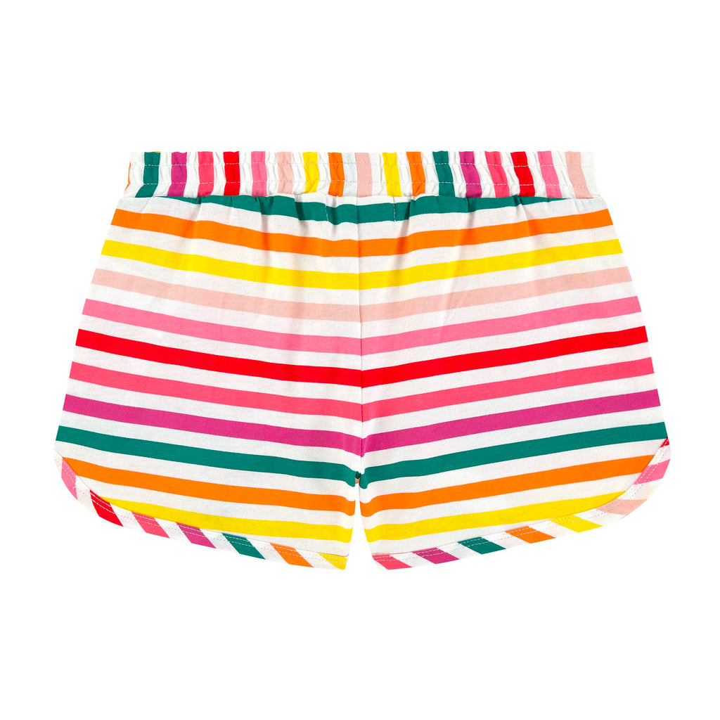 Girls Colorful Striped Logo Shorts