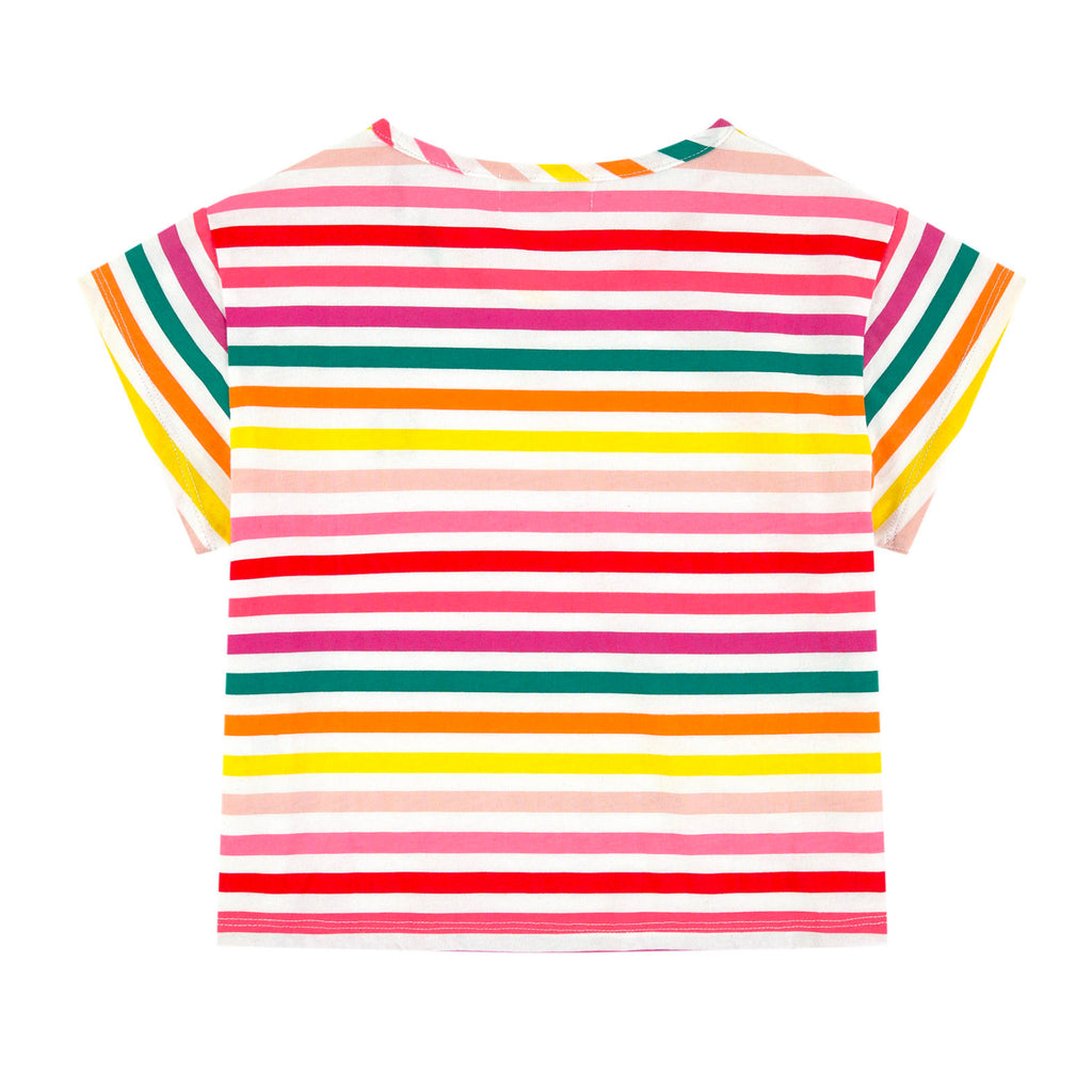 Girls Colorful Striped Logo T-shirt