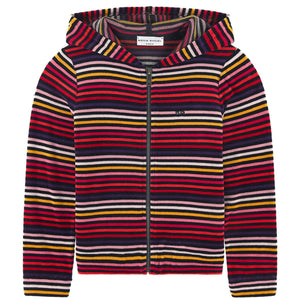 Girls Colorful Striped Velvet Hoodie