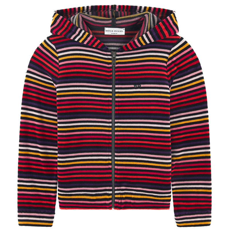 Sonia Rykiel Girls Colorful Striped Velvet Hoodie