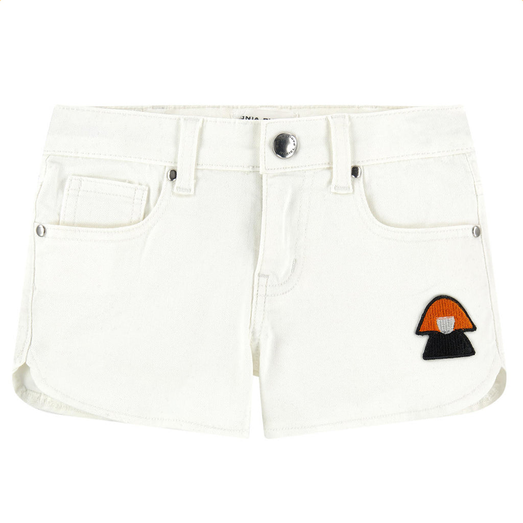 Girls Double Patched White Shorts