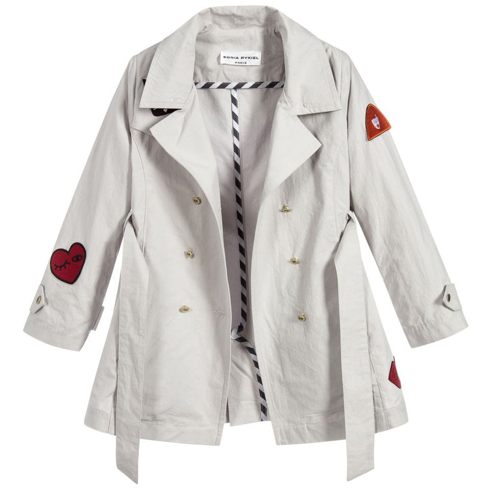 bf5224767 Sonia Rykiel Girls Grey Coat with Red Patches – Petit New York