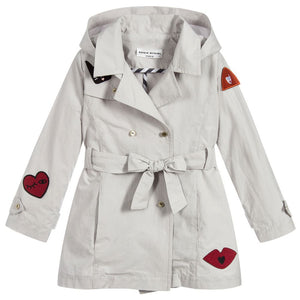 Girls Grey Coat with Red Patches
