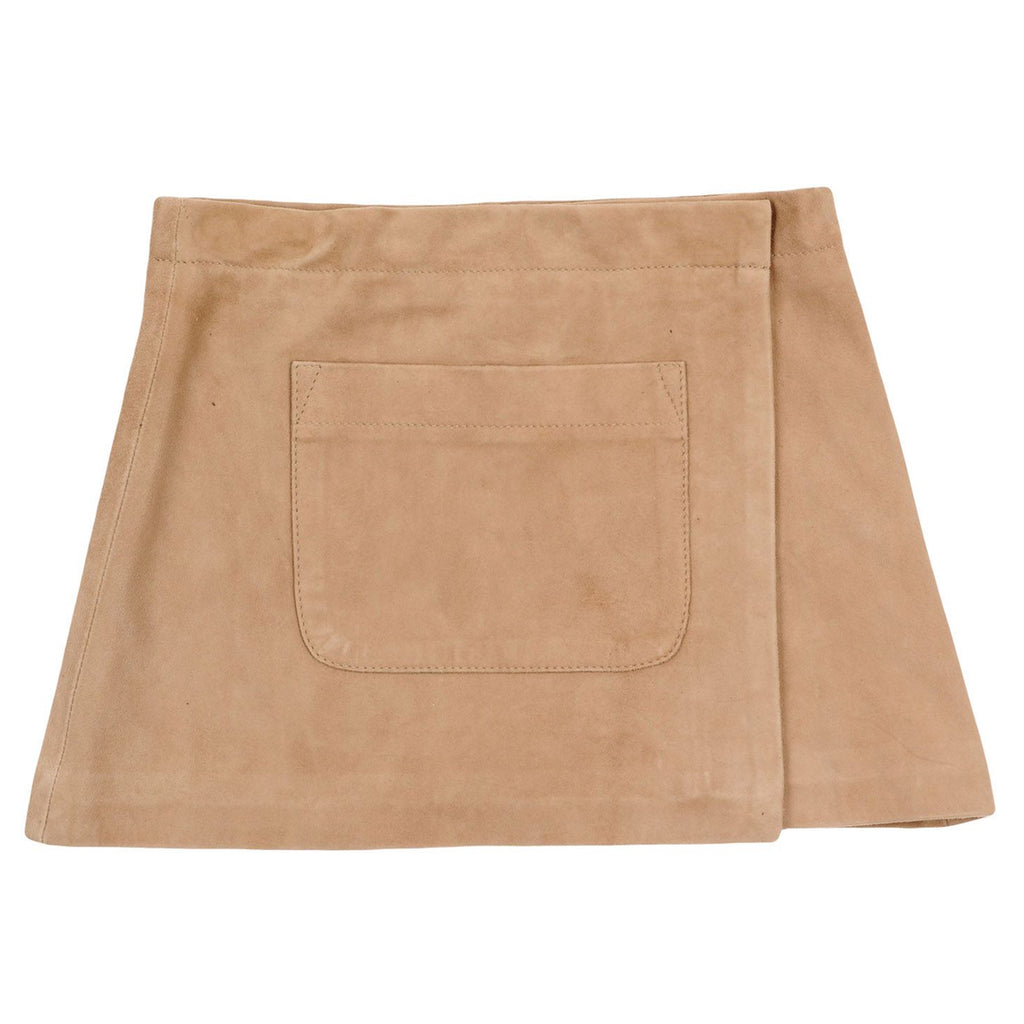 Girls Leather Beige Skirt