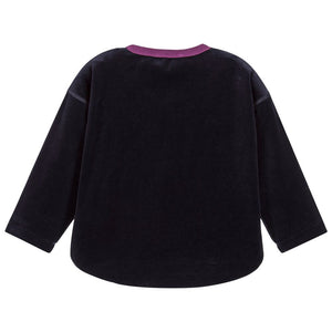 Girls Navy Blue Velvet Top