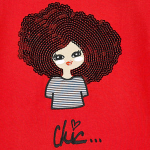 Girls Red 'Chic' Printed T-shirt