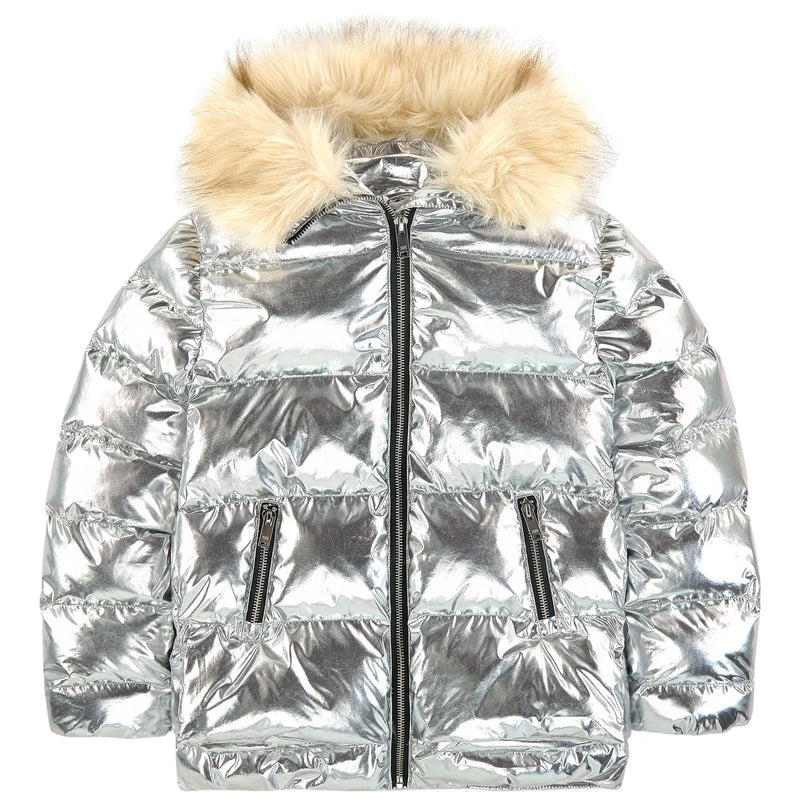 Girls Shiny Silver Puffer Jacket (Faux Fur)