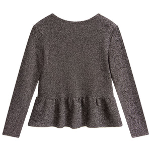 Girls Silver Glitter Top
