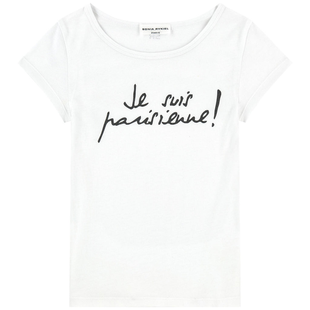 Girls White 'Je Suis Parisienne' T-shirt