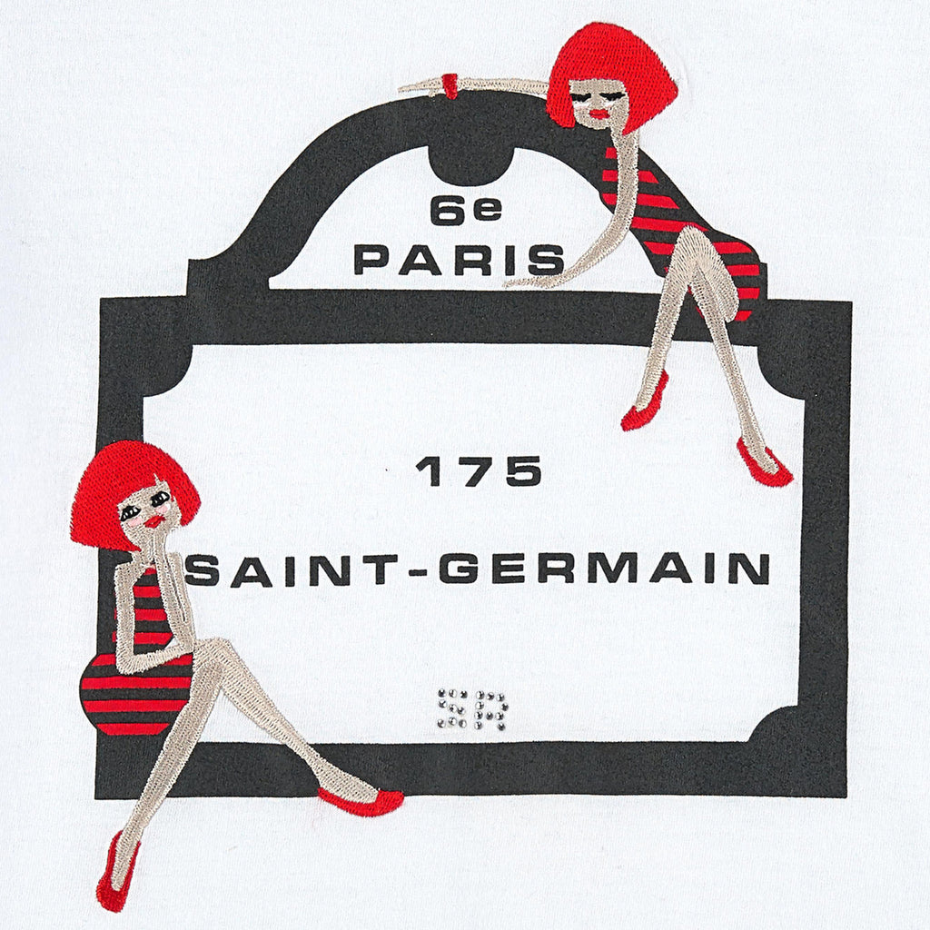 Girls White 'Paris Street Sign' T-shirt