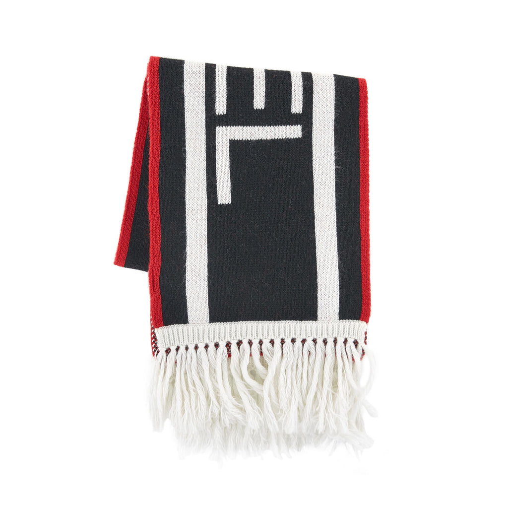 Unisex White Red & Blue Logo Scarf