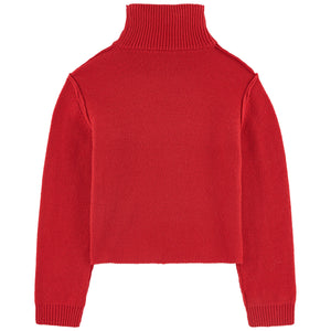 Girls Red Logo Knitted Sweater
