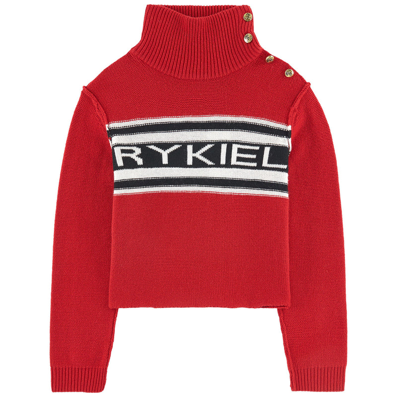 Sonia Rykiel Red Logo Knitted Sweater