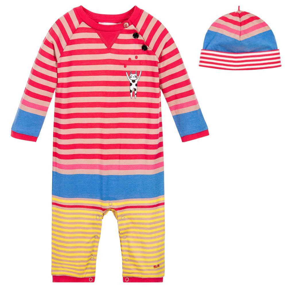 Baby Girls Striped Romper & Hat Gift Set