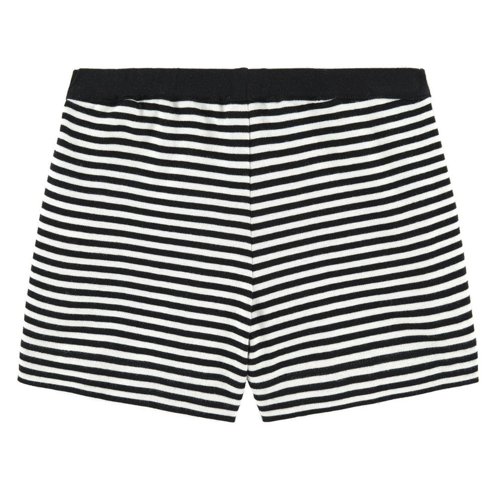 Girls Black & White Striped Shorts