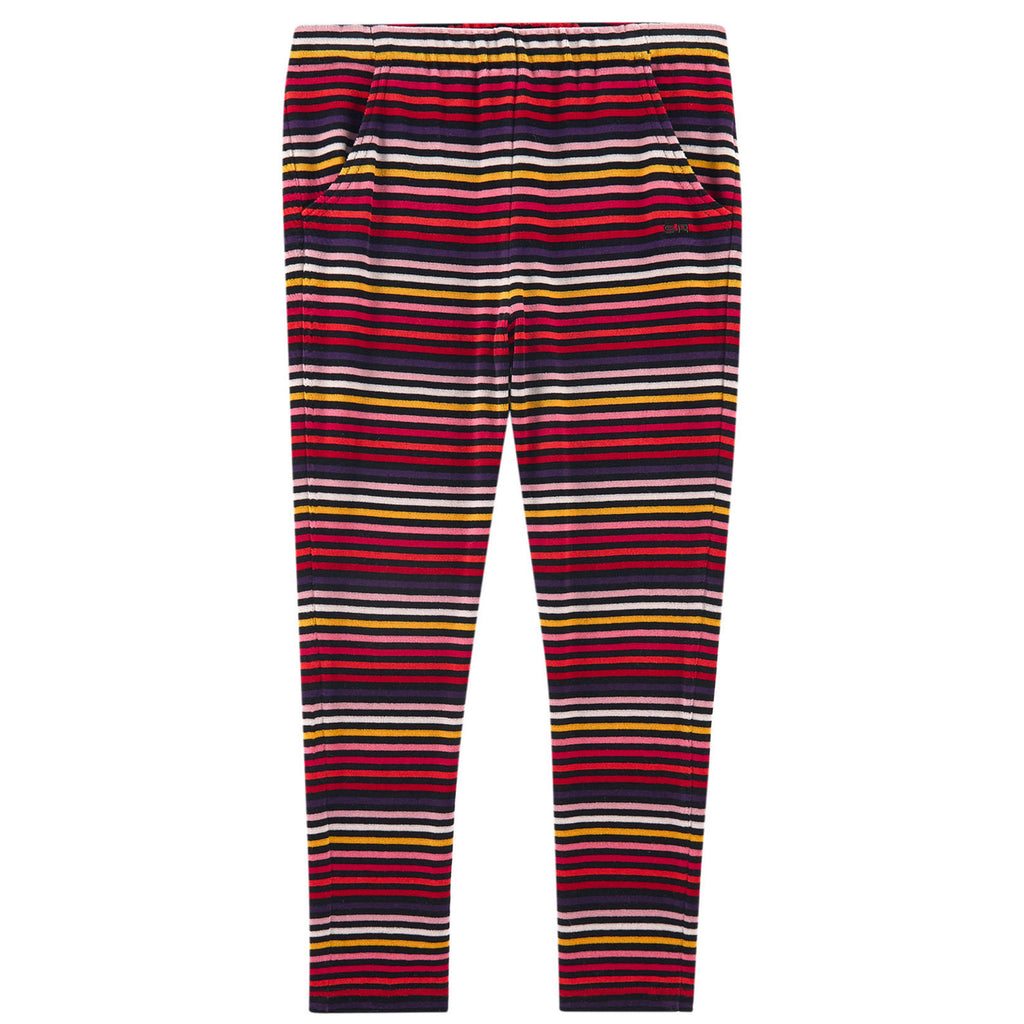Girls Colorful Striped Velvet Pants