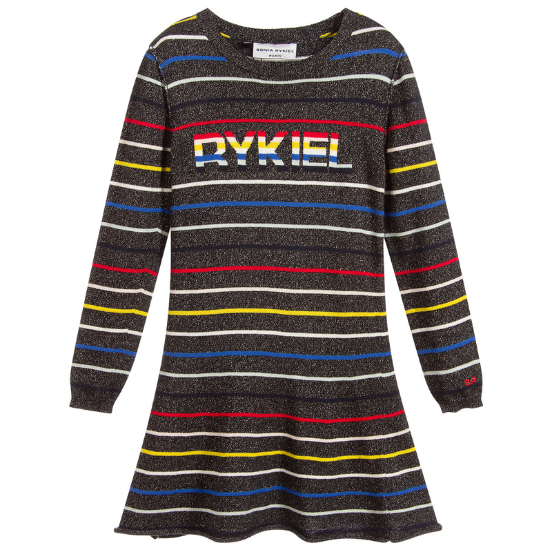 Girls Colorful Glittery Knitted Dress