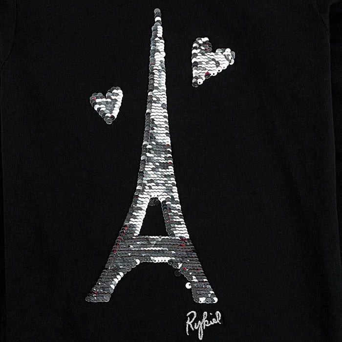 Girls Eiffel Tower Sequins Logo Black Top