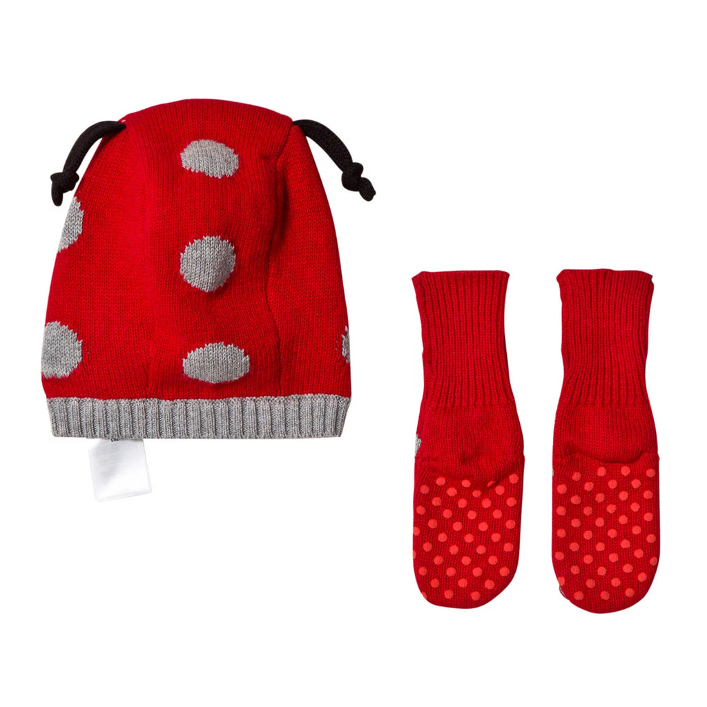Baby Girls Ladybug Hat and Booties