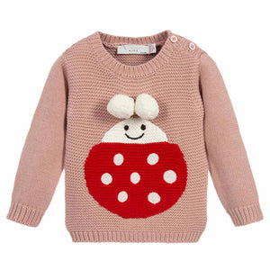 Baby Girls Soft Pink Ladybug Sweater