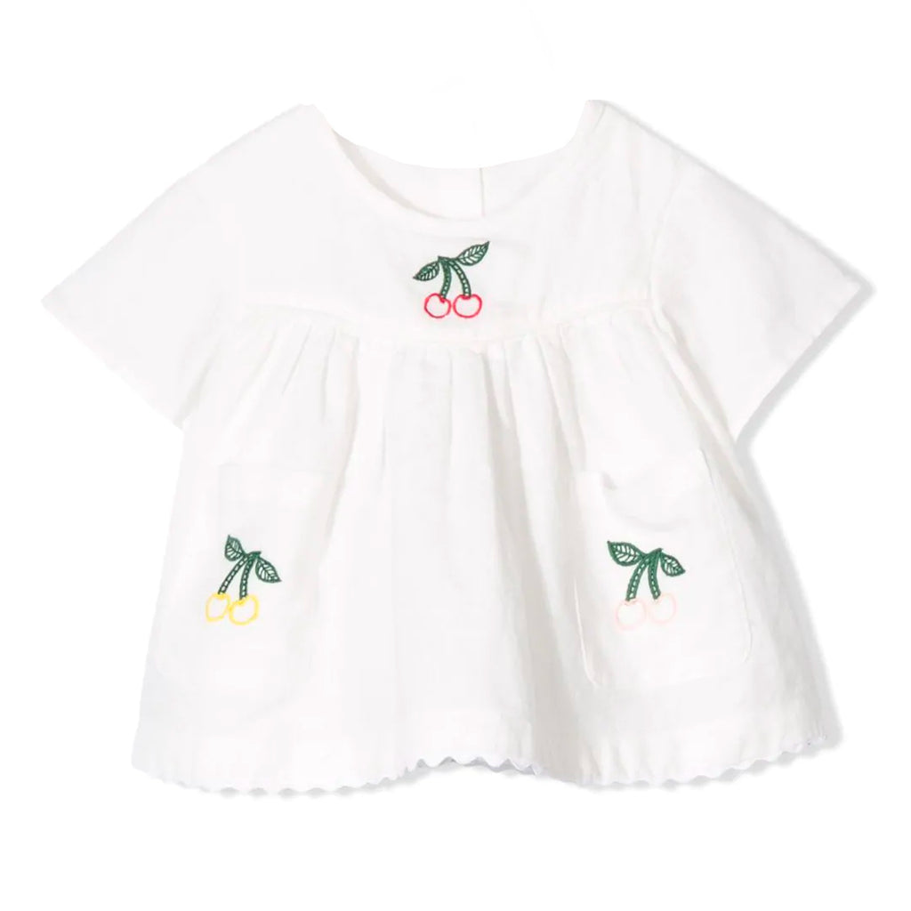 Baby Girls White Linen Cherry Embroidered Top