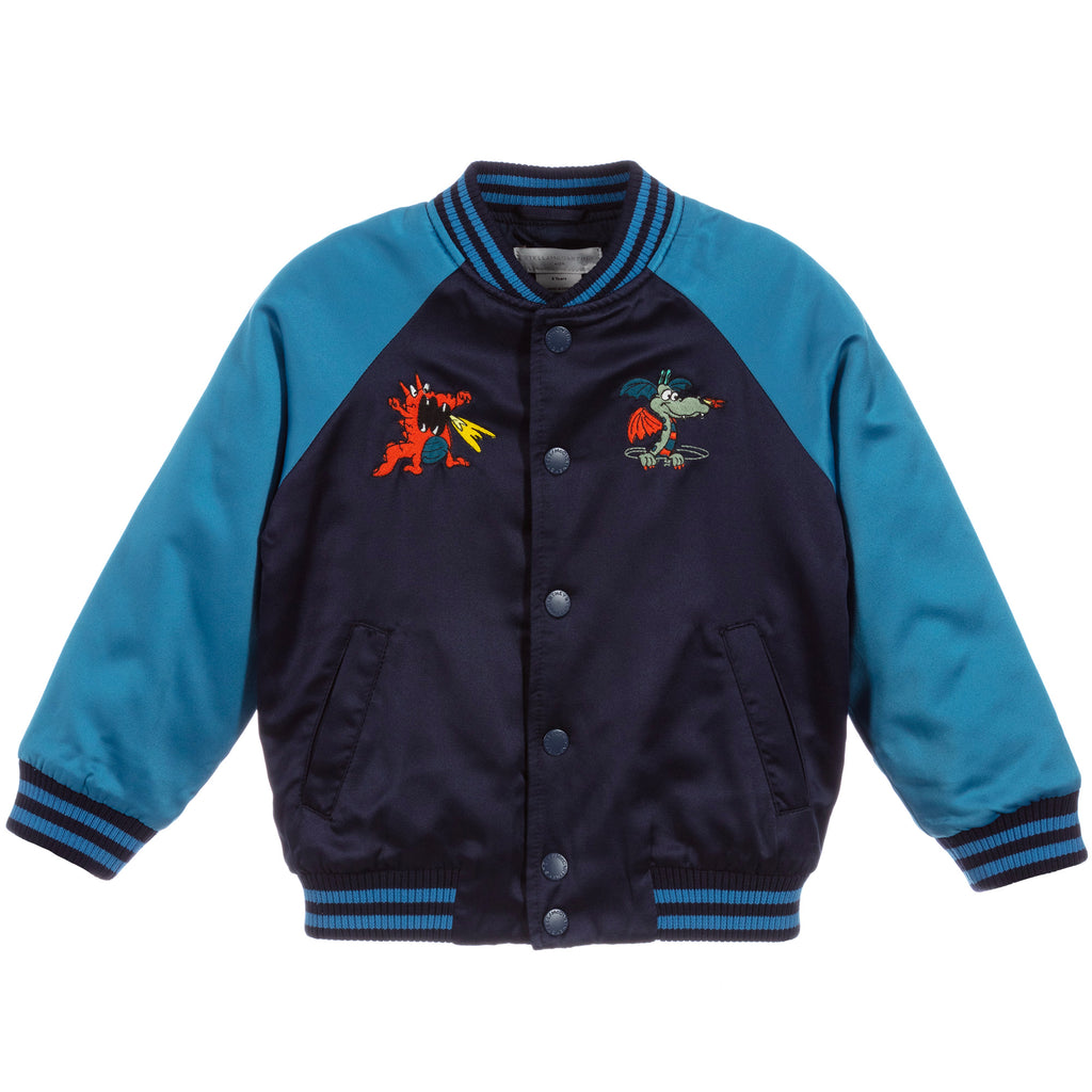 Boys Blue Wizard Satin Bomber Jacket
