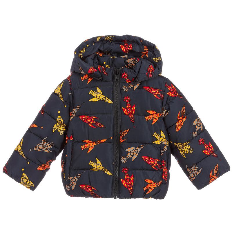 Boys Dark Puffer Jacket with Rockets
