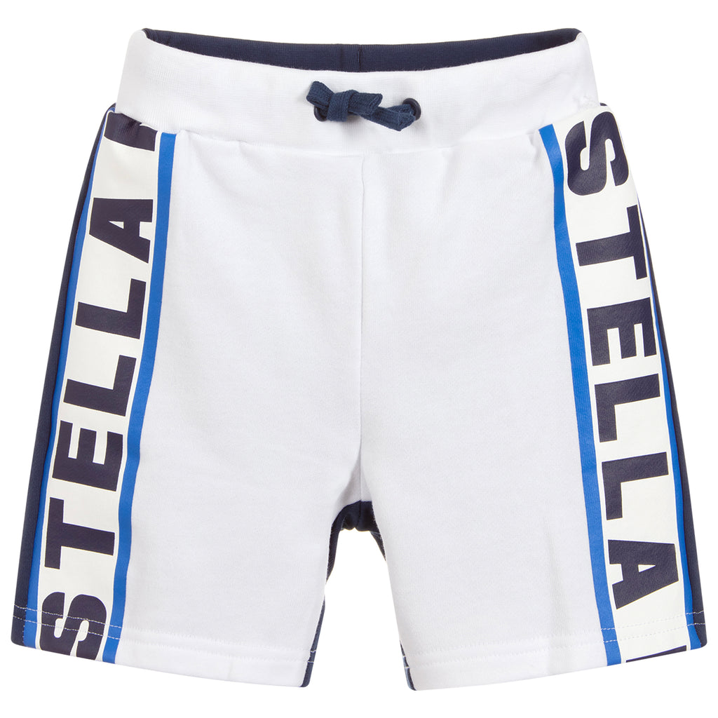Boys White and Blue Logo Sweatshorts