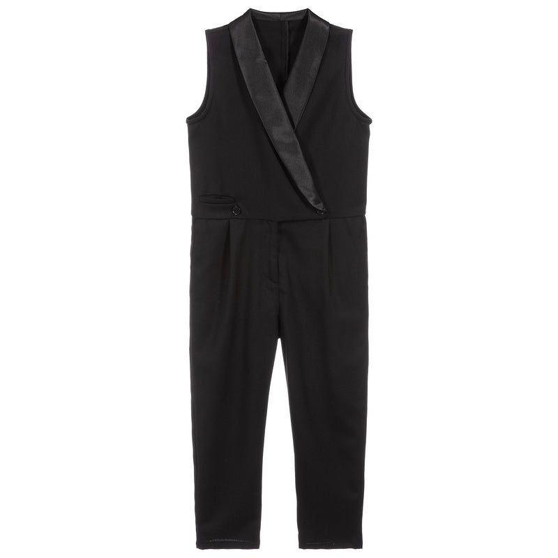Girls Black Wool with Satin Jumpsuit