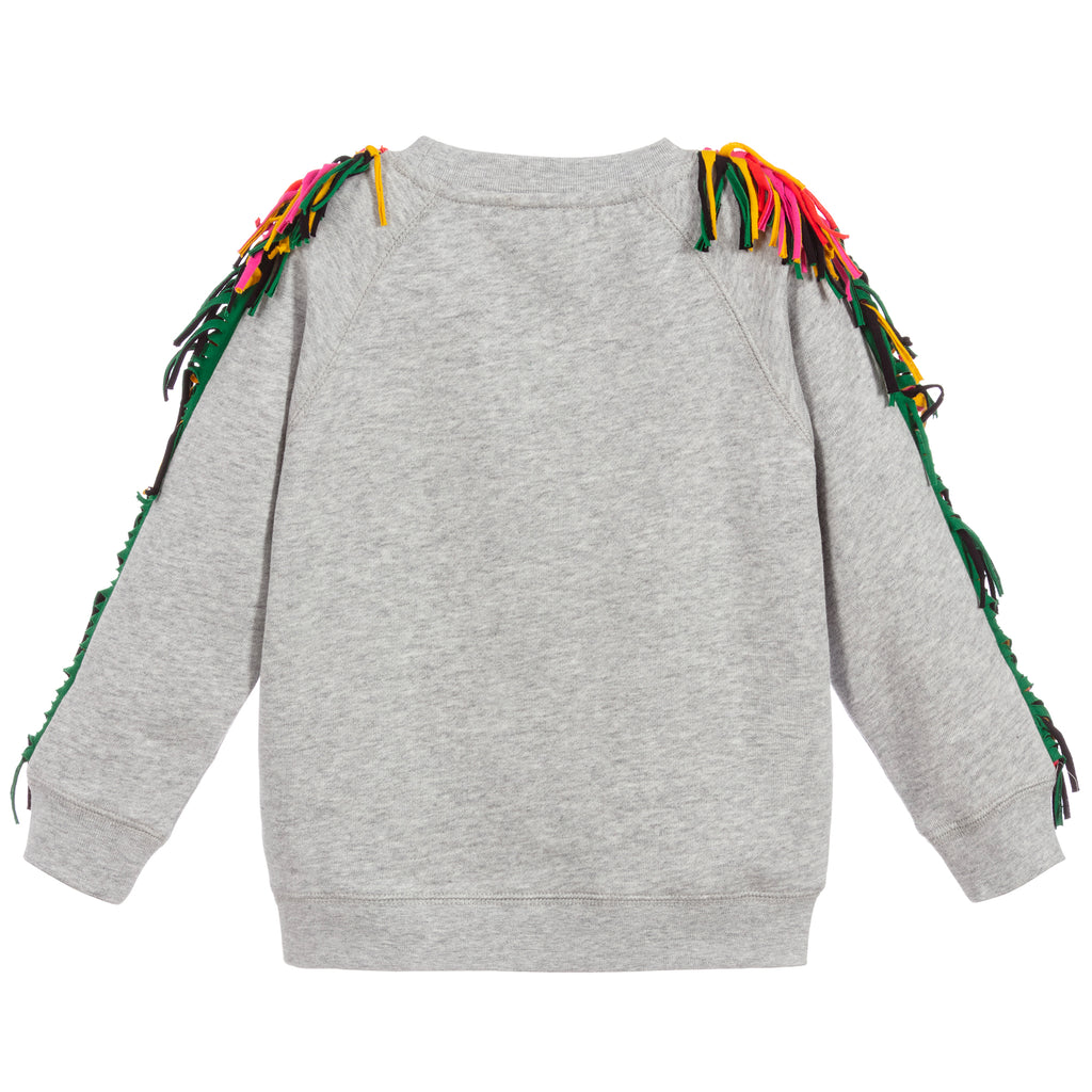 Girls Colorful Fringed Cotton Sweatshirt