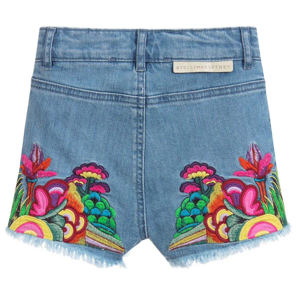 Girls Colorful 'Yellow Submarine' Denim Shorts