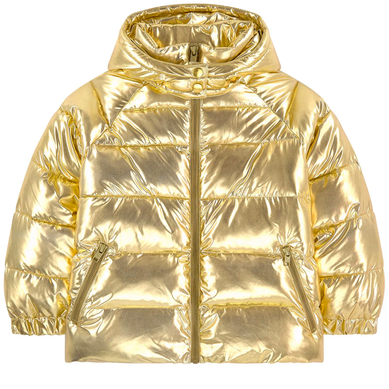 Girls Gold Metallic Puffer Jacket