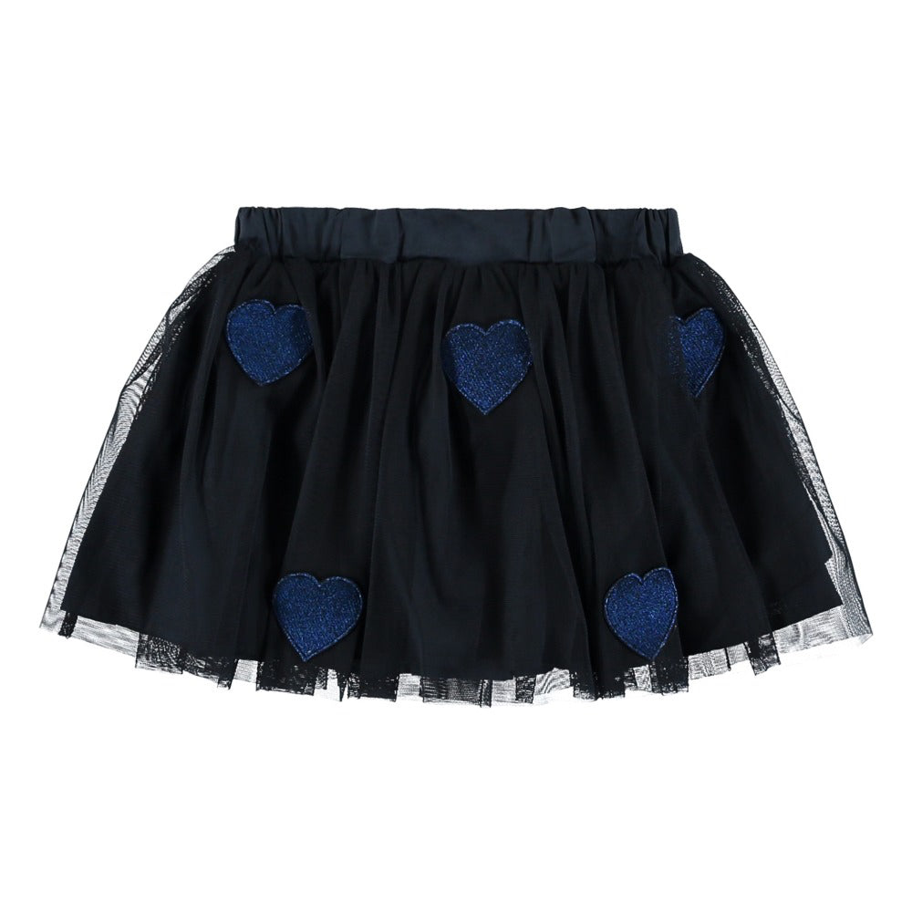 Girls Navy Blue Heart Patches Tulle Skirt